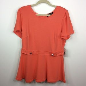 Eloquii Orange Top Button Detail Short Sleeve